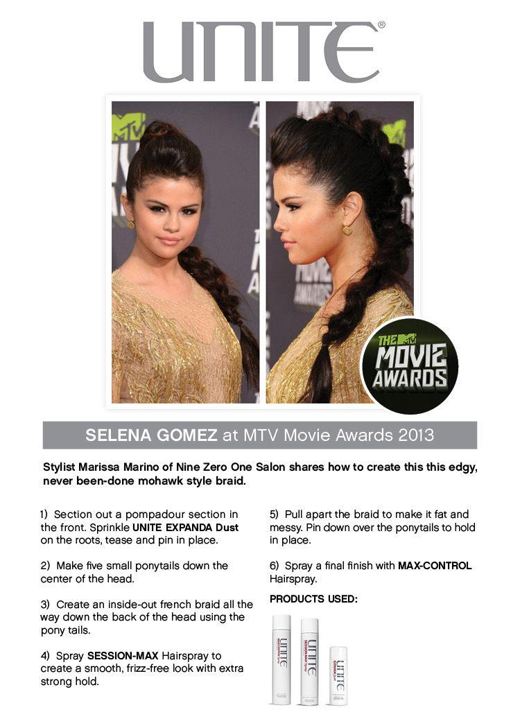 Selena gomez at mtv movie awards mohawk style braid unite