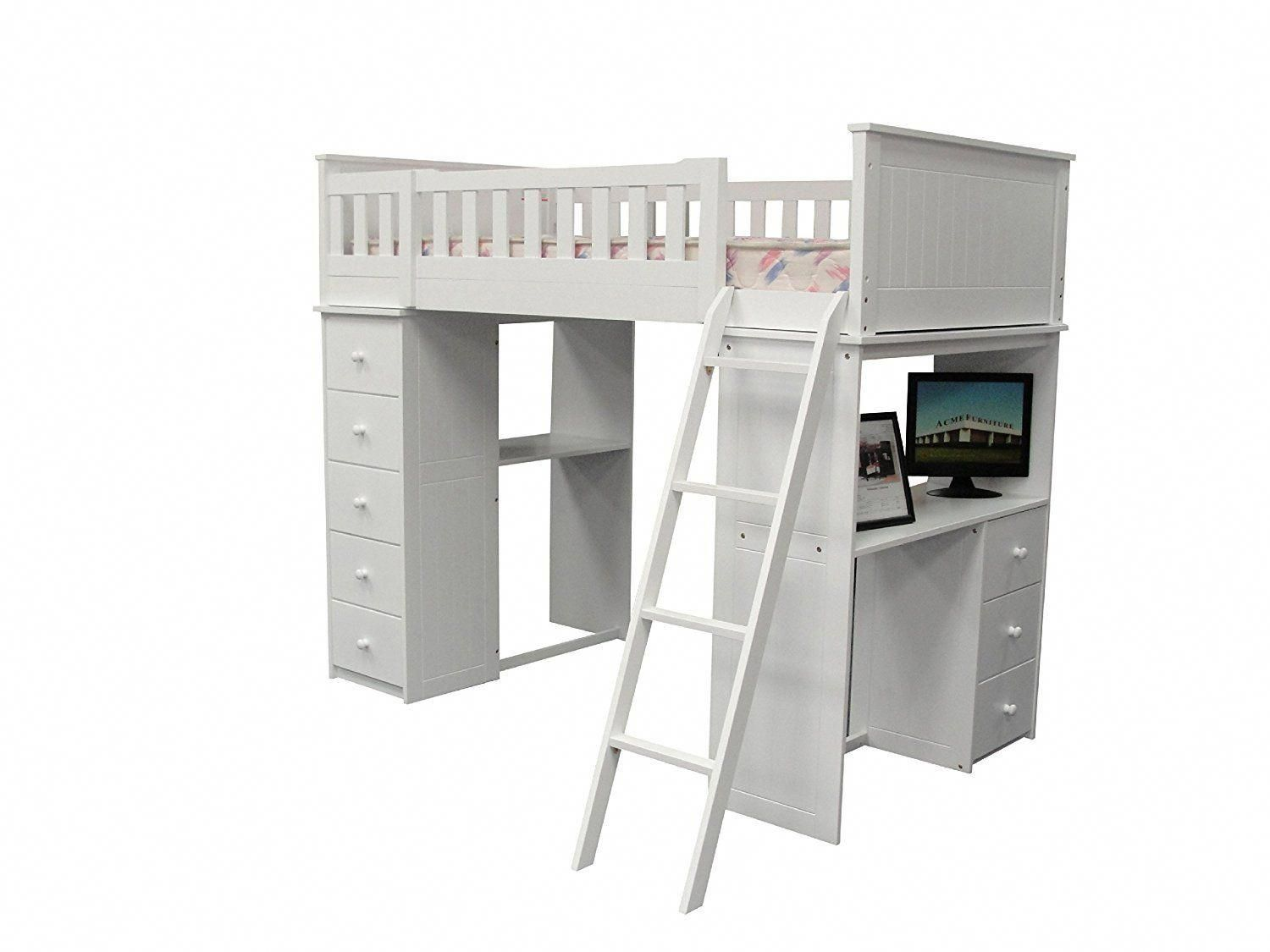 Loft bed with desk white  ACME Willoughby Loft Bed White  A udbunkbeddesignsforteens