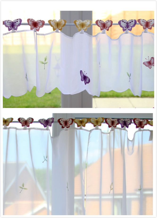Beautiful Erfly Cafe Net Voile Curtain Panel 12 24 30 36 72 83 Drops