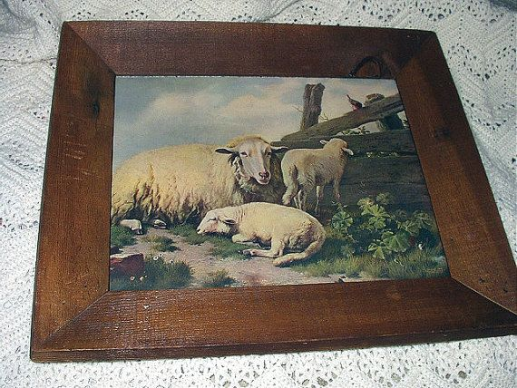 Reserved Rima-Ewe Lambs Sheep 1903 Original Picture Artist Eugene Verboeckhoven Antique Chromolithograph Print in Rough Sawn Barnwood Frame