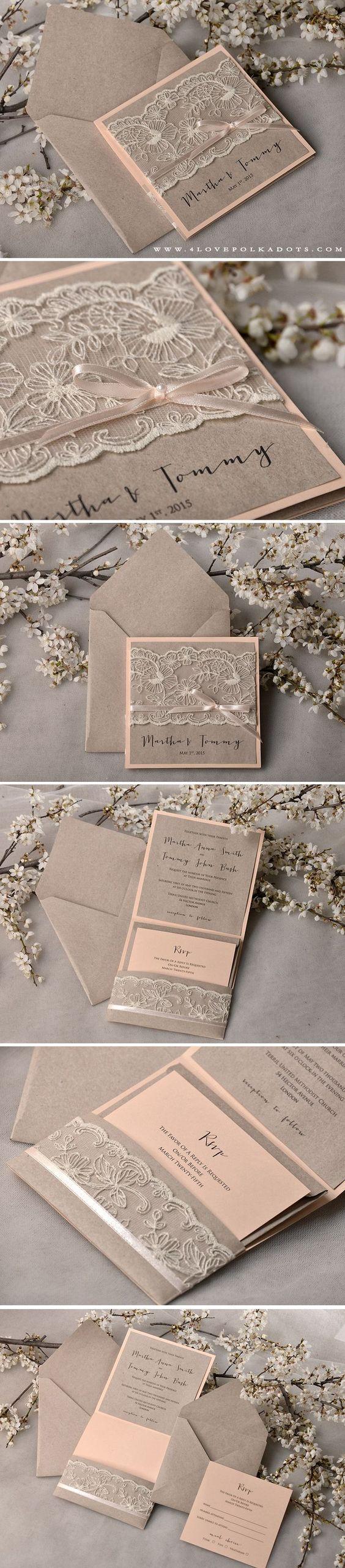 WEDDING INVITATIONS rustic   Weddingideas, Lace wedding and Peach