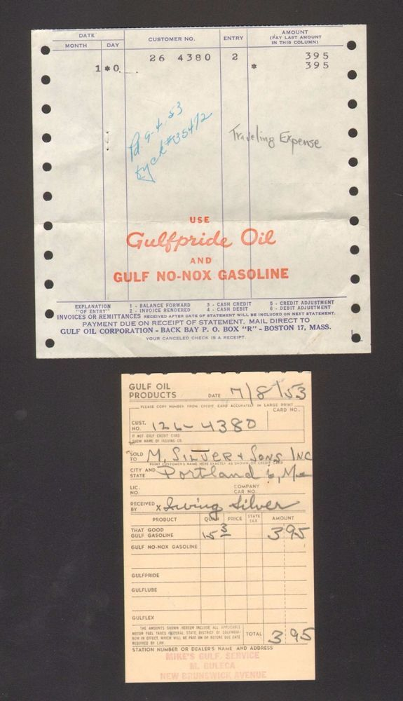 Lot of 2 1965 Billhead Receipts Gulfpride Oil Gulf No Nox Gasoline