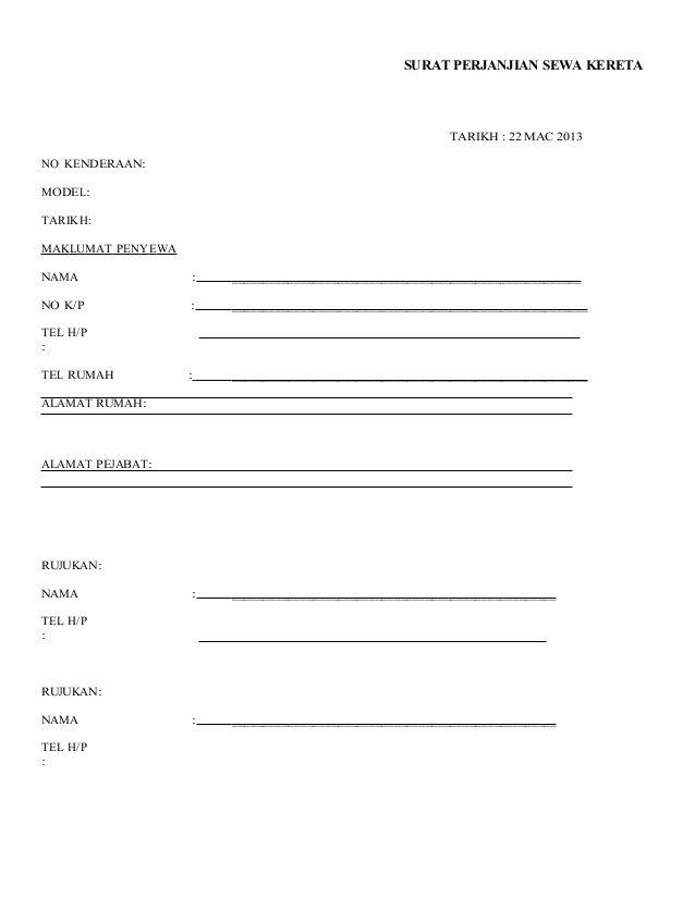Surat Perjanjian Sewa Kereta Tarikh 22 Mac 2013 No Kenderaan