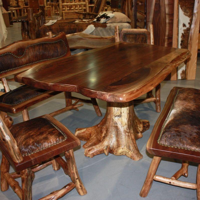Log Dining Room Table: Log Cabin Builder - Dark Log Table Set