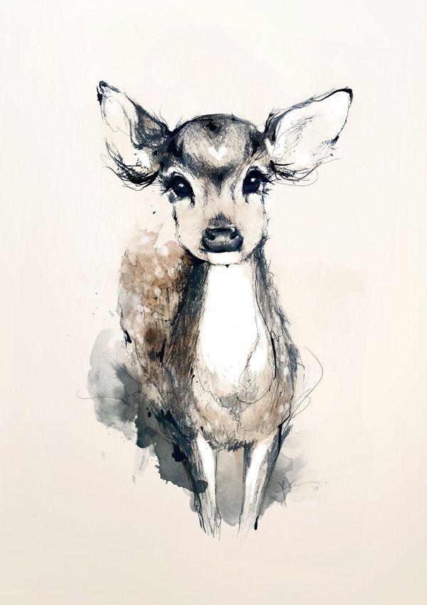 543321fdaee7e joanneyoung on deviantART Watercolor Deer, Watercolor Tattoo, Watercolour  Art, Deer Drawing, Painting