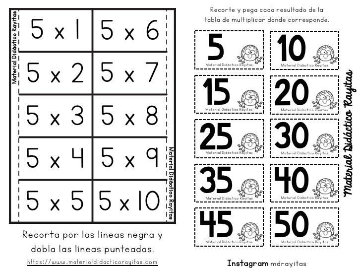 Tablas De Multiplicar Manipulativo Para Recortar 6 Tablas De Multiplicar Practicar Tablas De Multiplicar Aprender Las Tablas De Multiplicar