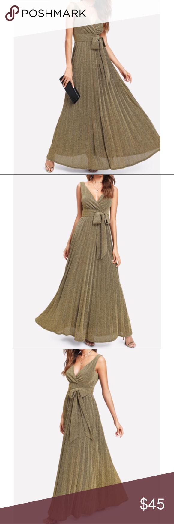 272693b52b09 Spotted while shopping on Poshmark: V Neck Self belted glitter pleated  surplice dress! #poshmark #fashion #shopping #style #Dresses & Skirts