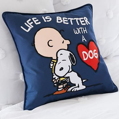 53c606cda9 Peanuts™ Life Is Better With A Dog Pillow Cover  pbteen
