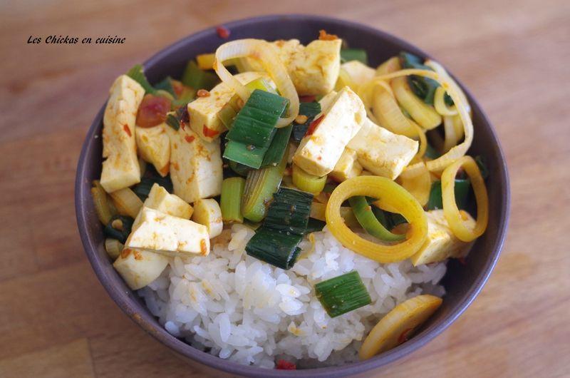 Tofu sauté aux poireaux