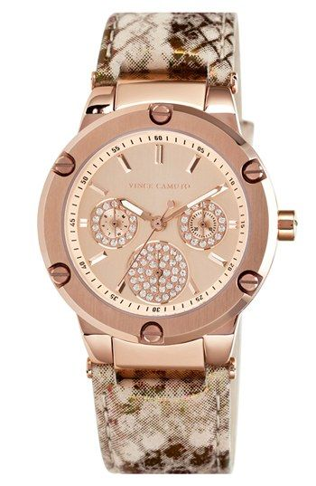 Vince Camuto Round Multifunction Leather Strap Watch, 38mm