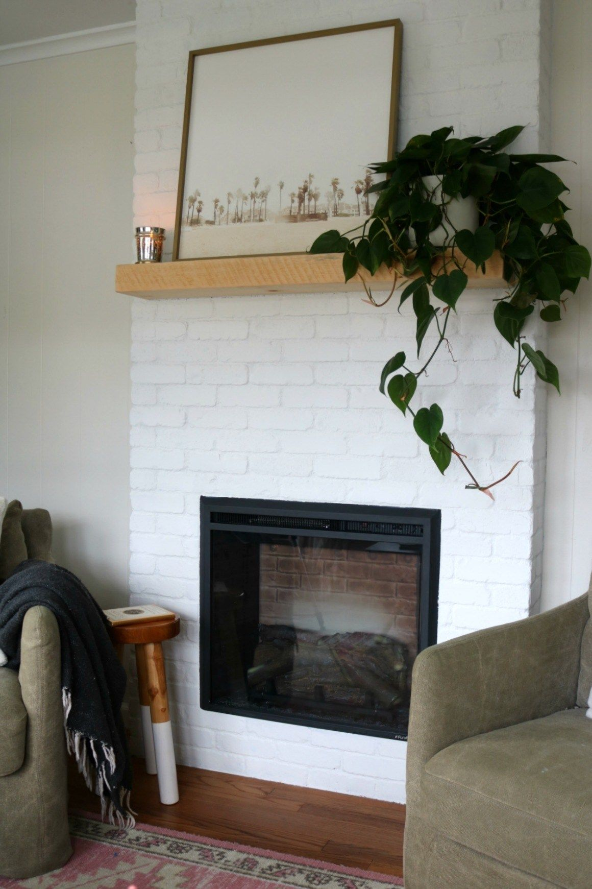 Fireplace Reveal Our Electric Brick Fireplace Nesting With Grace Fireplace Electric Fireplace Brick Fireplace