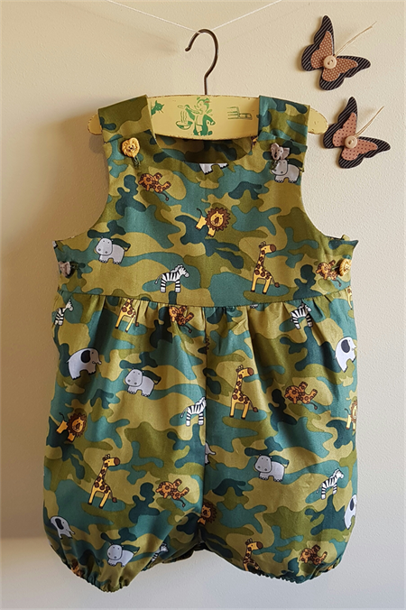 b4fc36a9716e Bubble romper play suit in green camouflage and African animal print cotton.