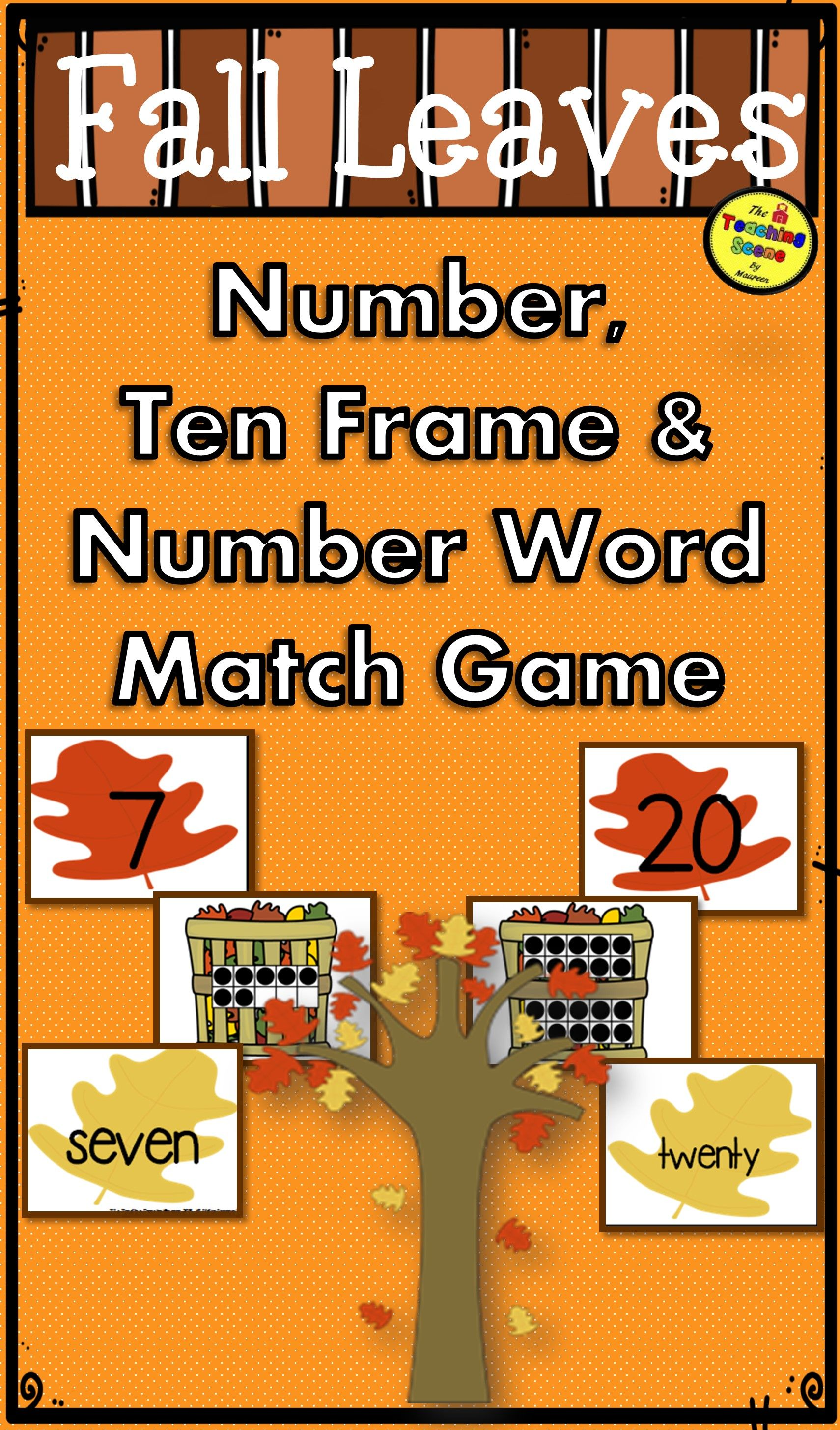 Fall Leaves Number Ten Frame Amp Number Word 0 25 Match