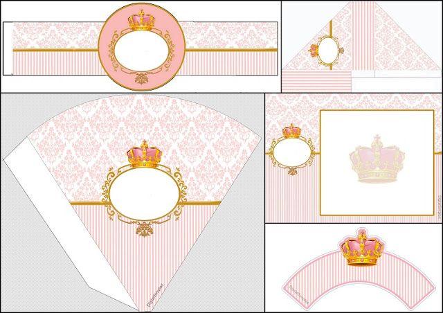 Corona Dorada En Fondo Rosa: Invitación Para Imprimir