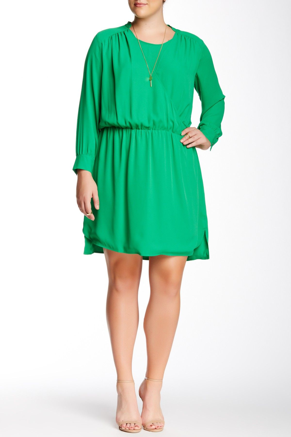 Long sleeve faux wrap dress plus size by vince camuto on