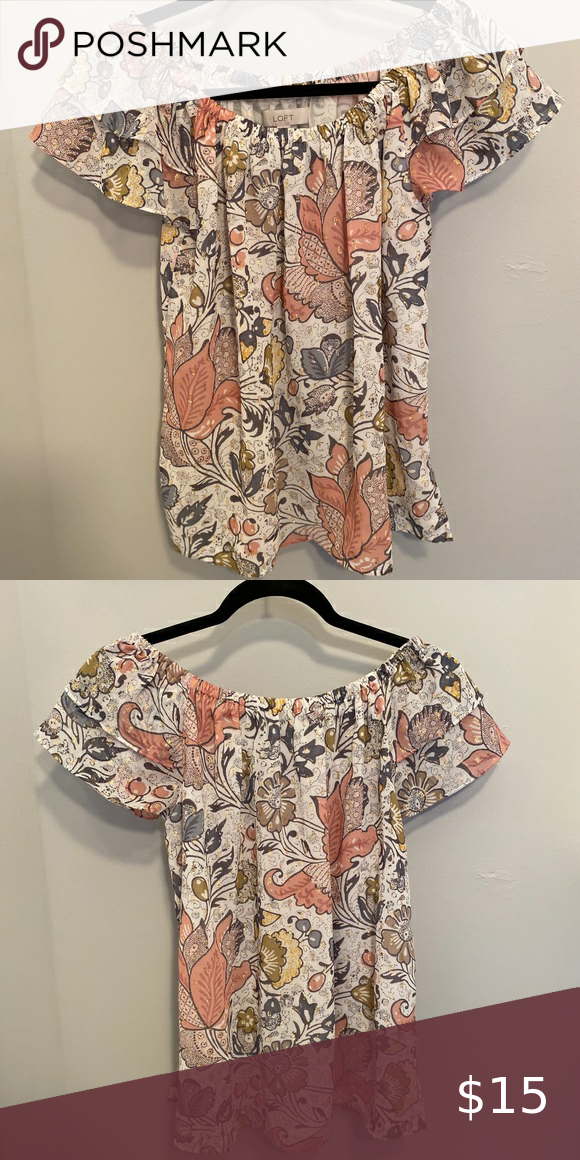LOFT Off the Shoulder Floral Top WORN ONCE!  Super cute Spring/Summer Top!  Can …