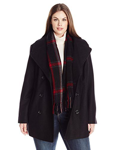 London Fog Women's Plus Size Double Breasted Peacoat with Scarf ...