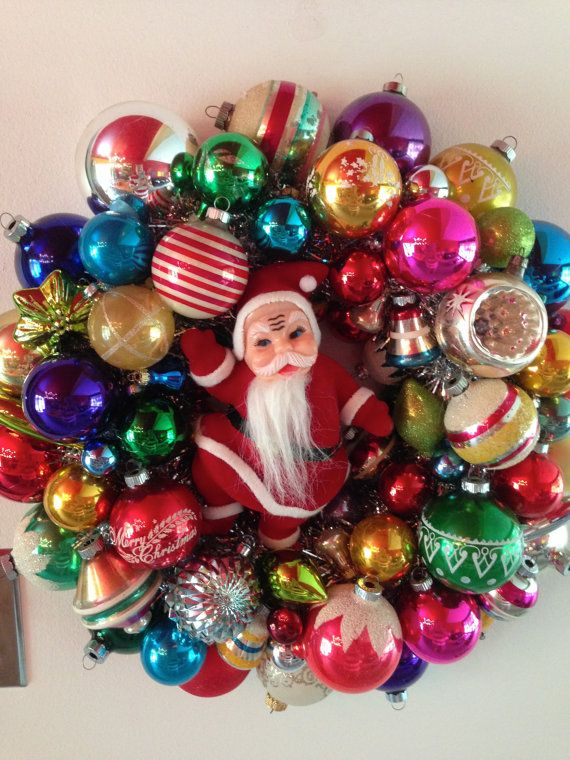 Vintage Christmas Wreath.  Etsy listing at https://www.etsy.com/listing/201994832/vintage-christmas-ornament-wreath-with