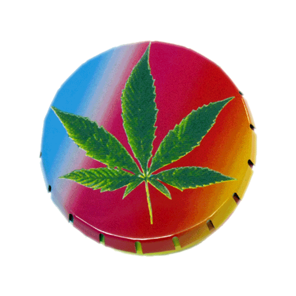 Leaf Rainbow Pop Tin. Buy a Pop Tin because: Its size and shape make it a handy place to store your herbs, especially good for when you're on the move; The lid has been cleverly designed so you can open it one handed, with just a press it clicks open and with a squeeze of the sides it snaps shut securely; It looks cool and there are loads of wicked head-case designs to collect.