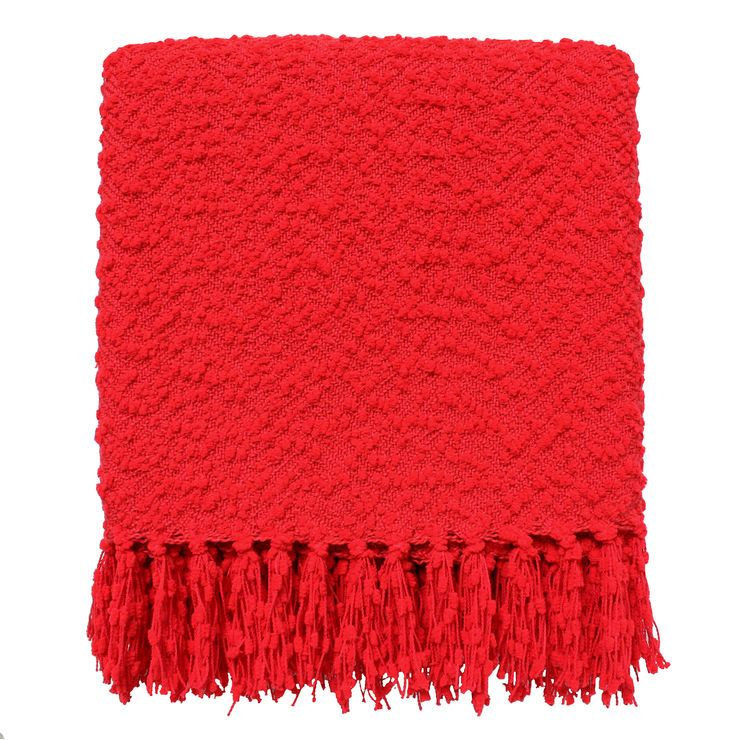 Red Nubby Knot Throw 50 X 60-in