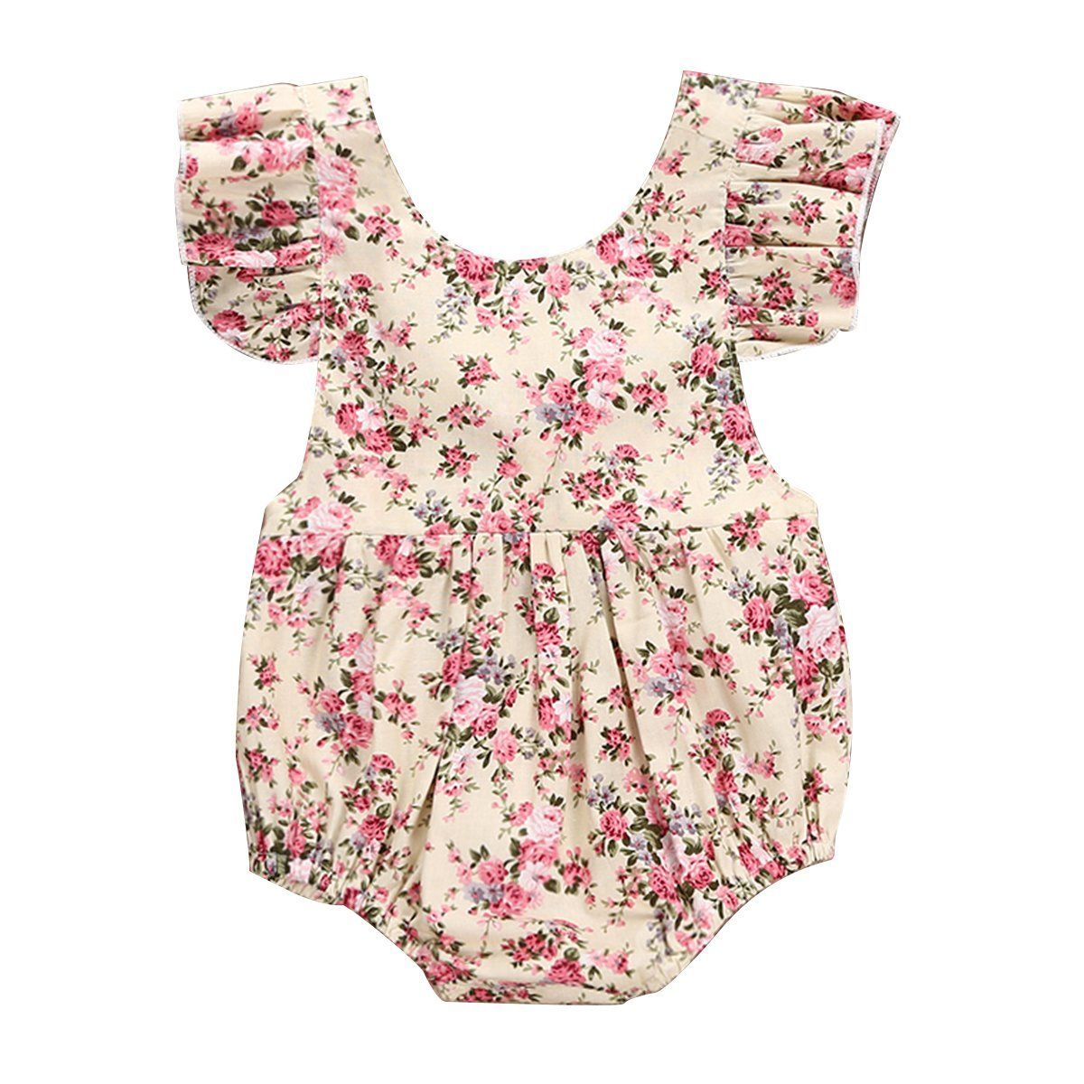 Newborn Baby Girl Fly Sleeve Floral Romper Jumpsuit Playsuit Outfits Clothes