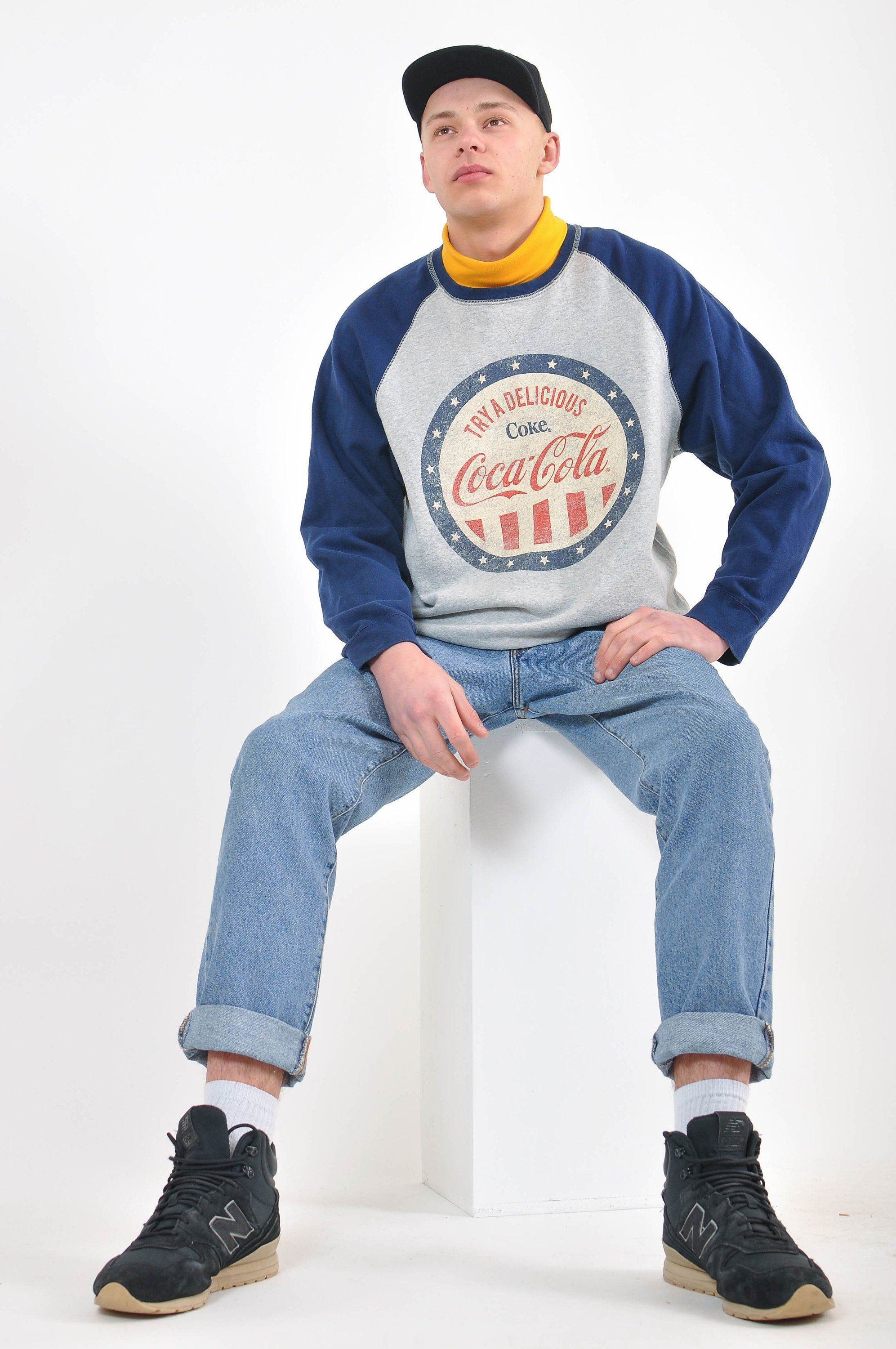 Excited To Share The Latest Addition To My Shop Vintage 90s Cocacola Sweatshirt Clothing Men Hoodie Gray Blue Vintage Outfits Clothes Mens Sweatshirts [ 3000 x 1993 Pixel ]