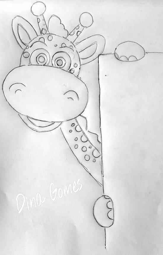 Girafinha Risco Pinturas Riscos Para Pintura Pintura Em Tecido