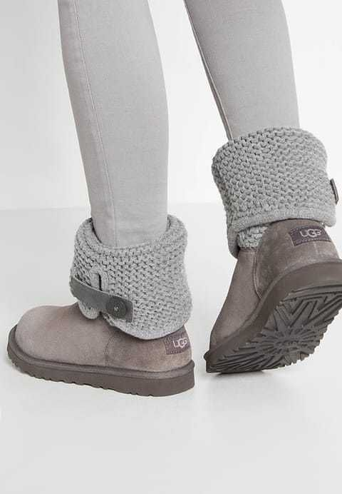 33243fdc49a WOMENS UGG AUSTRALIA Boots Shaina Grey Knit Suede Cuffable Ankle ...