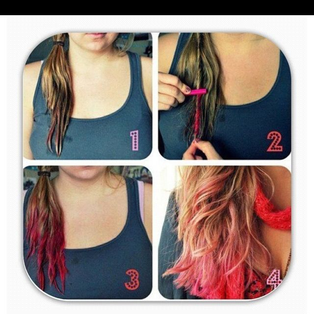 DIY dip dye hair with chalk pastels! | Make up and Hair ...