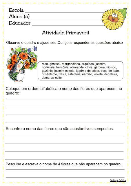 Atividades Projeto Primavera Lingua Portuguesa Atividades