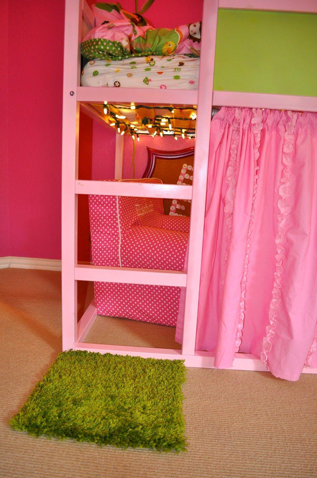 Loft bed curtain ideas  Kura Bed MakeOverGirls  The Best of Times  Kura bed  Pinterest