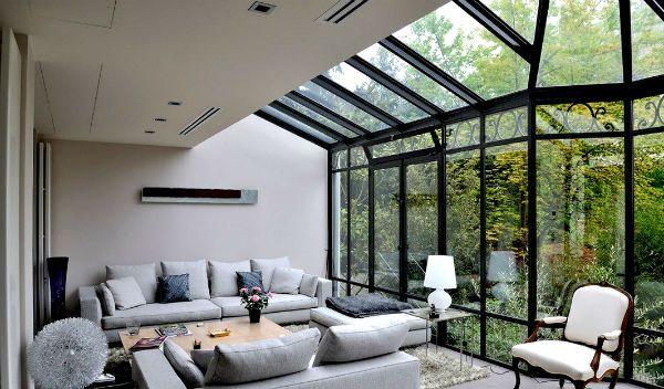 Wintergarten Design moderne wintergarten design ideen grau sofa set woode wintergarten