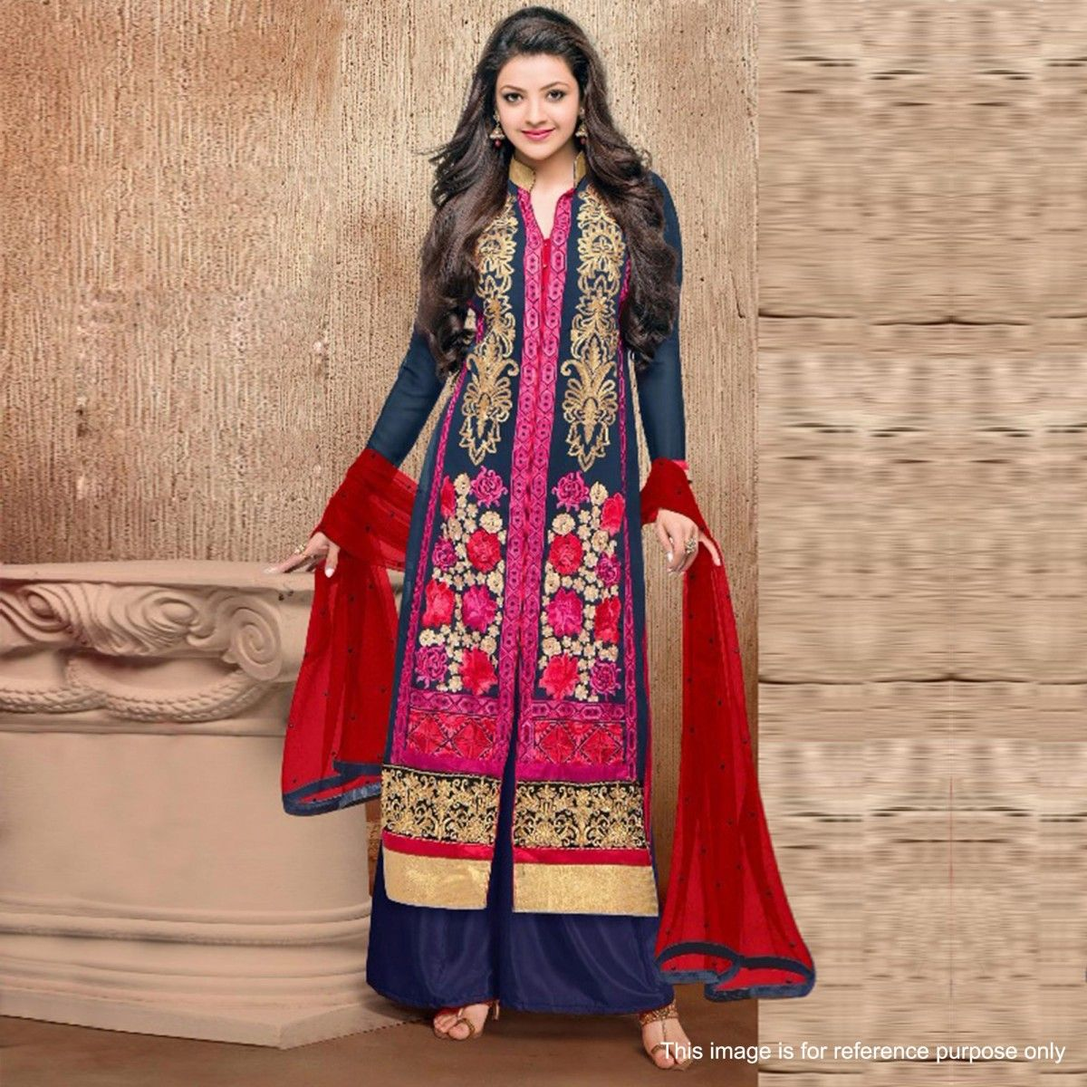 Buy Dark Blue Georgette Palazzo Suit for womens online India, Best ...