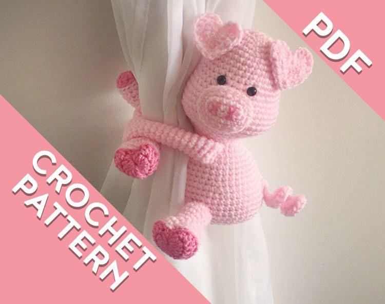 Piggy curtain tie back crochet PATTERN , tieback, left or