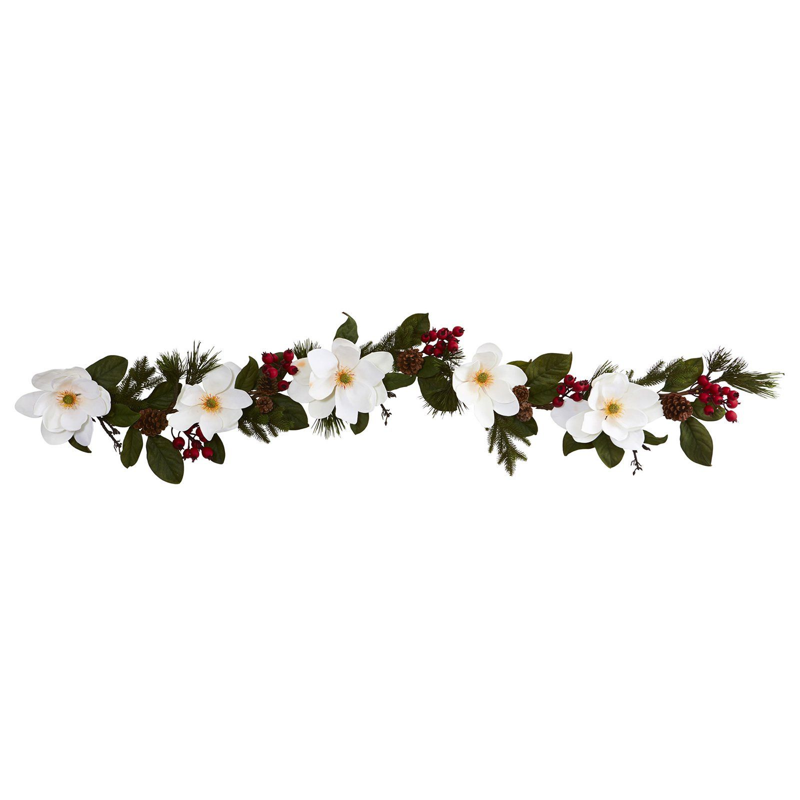 Nearly Natural 6 Ft Magnolia Pine And Berries Silk Garland Artificial Garland Flower Pot Design Silk Plants