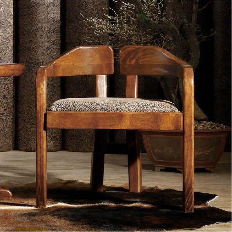 Good comrade new Chinese wood stool leisure living room lounge chair Ugyen wood color home study chair