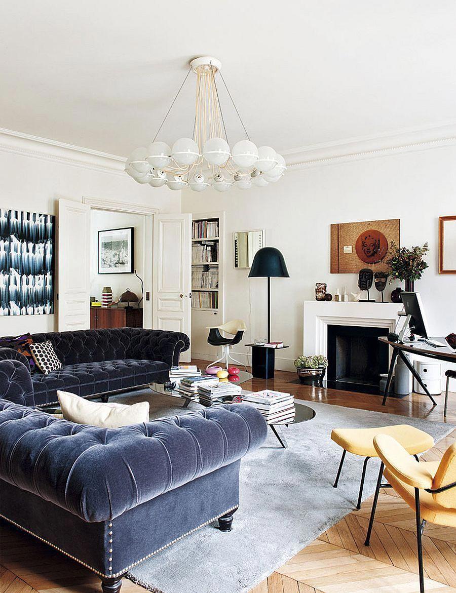 Urban Chic Living Room Of The Trendy Paris Apartment Decoist
