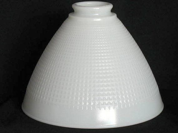 Milk Glass Art Deco Lamp Shade Diffuser By Oldmillvintage On Etsy