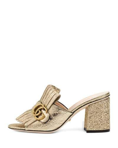 21d12db8983 GUCCI Marmont Metallic Leather 75Mm Mule.  gucci  shoes  sandals ...