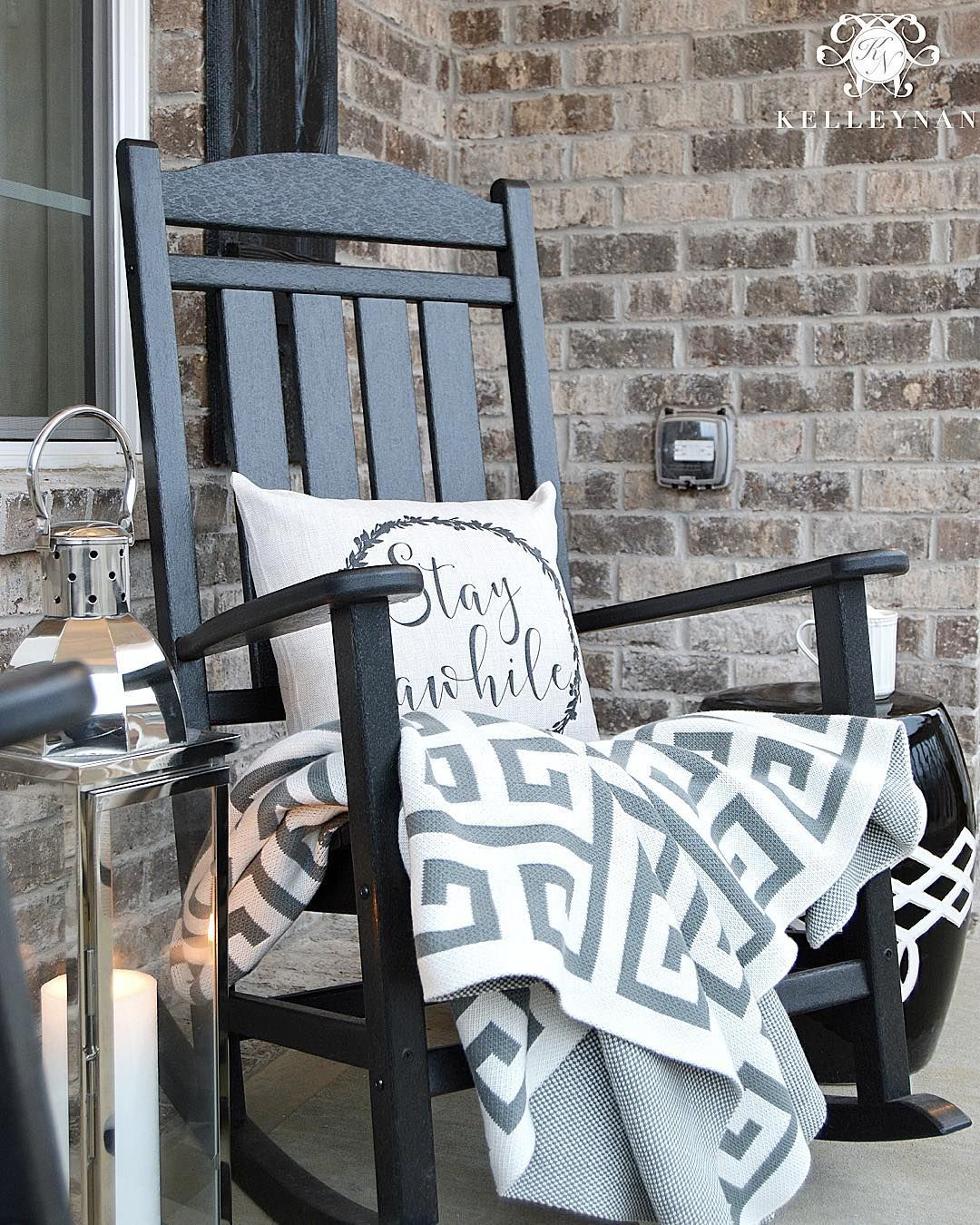 Kelley Nan Kelleynan Black Rocking Chair Brick Front Porch