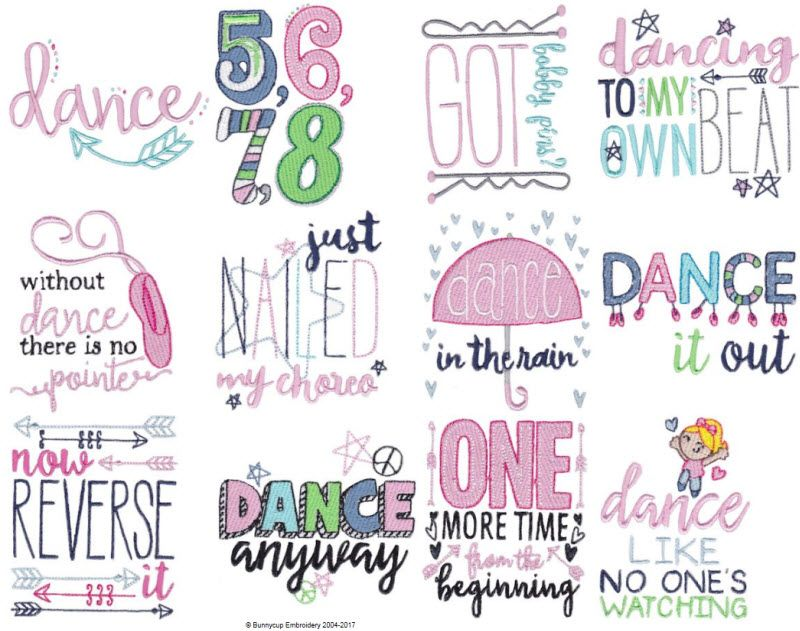 Dance Sentiments Bunnycup Embroidery Designs Pinterest