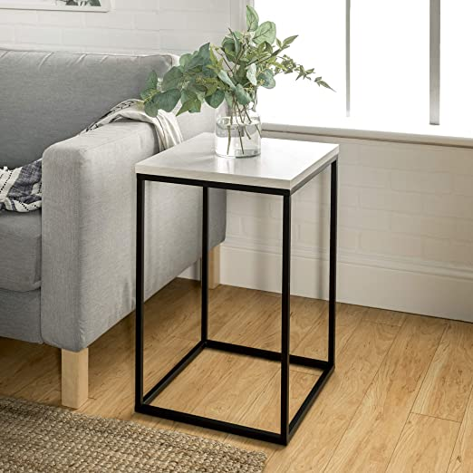 Amazon Com Walker Edison Furniture Company Modern Open Square Wood Side Accent Living Room In 2020 Modern Side Table White Marble Side Table Living Room Accent Tables