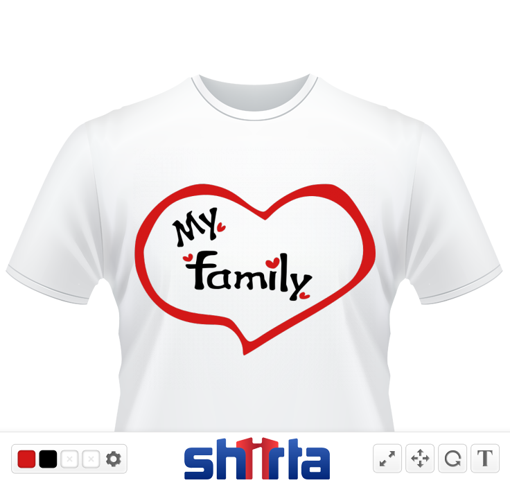 Heart love my family txt red hearts vector graphic illustration line art