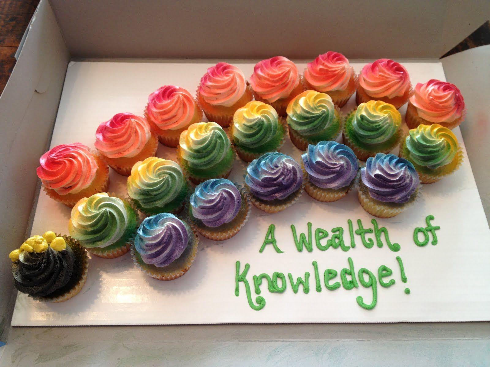 Rainbow cupcakes with sprayed frosting
