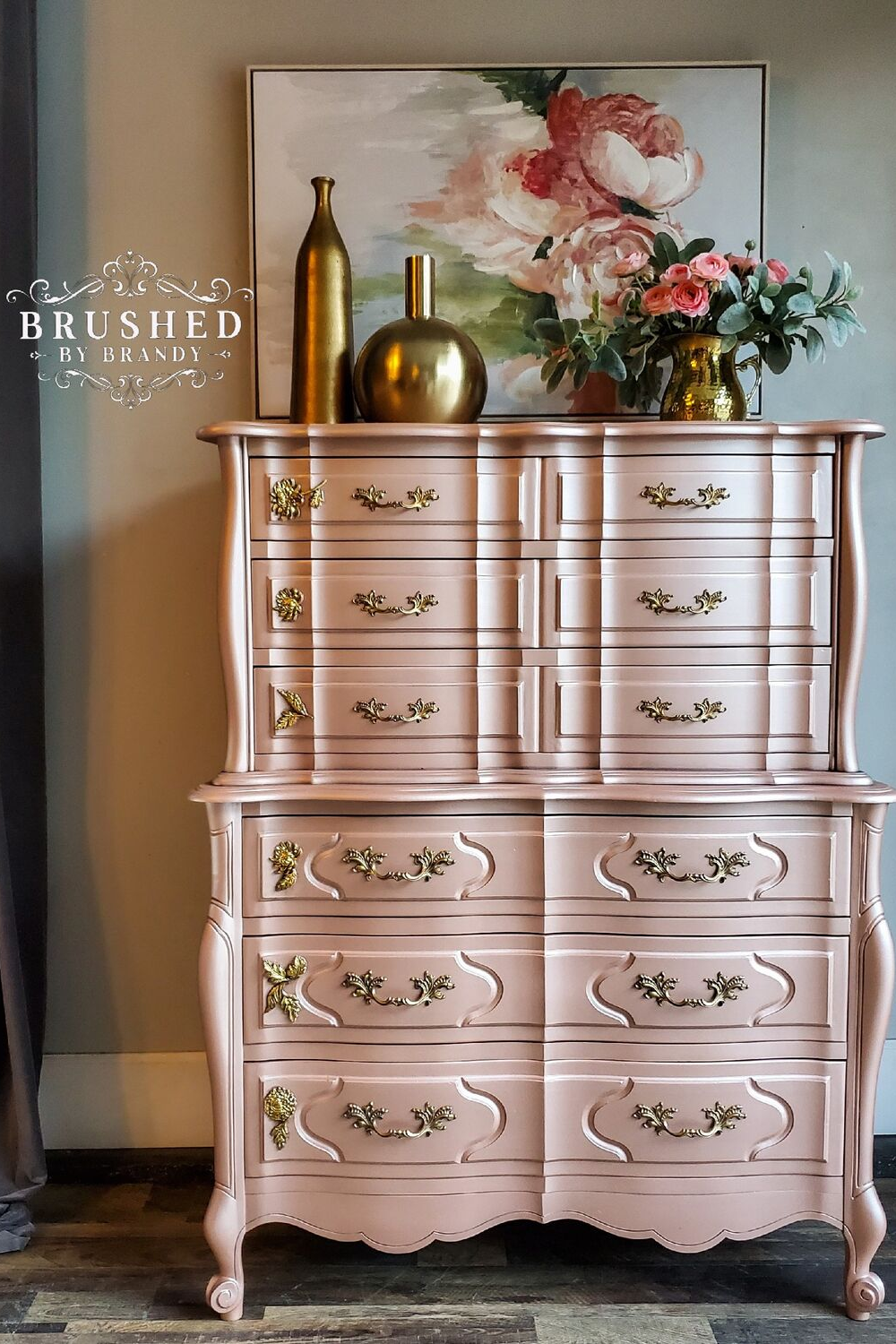 Pink Champagne Chest Of Drawers Brushed By Brandy Metallic Painted Furniture Rose Gold Furniture Pink Furniture
