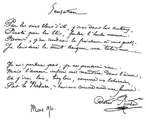 Sensation By Arthur Rimbaud March 1870 Rimbaud Poeme