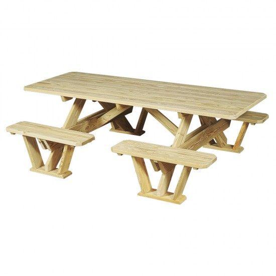 Amish Pine 7 Foot Split Bench Picnic Table Amish