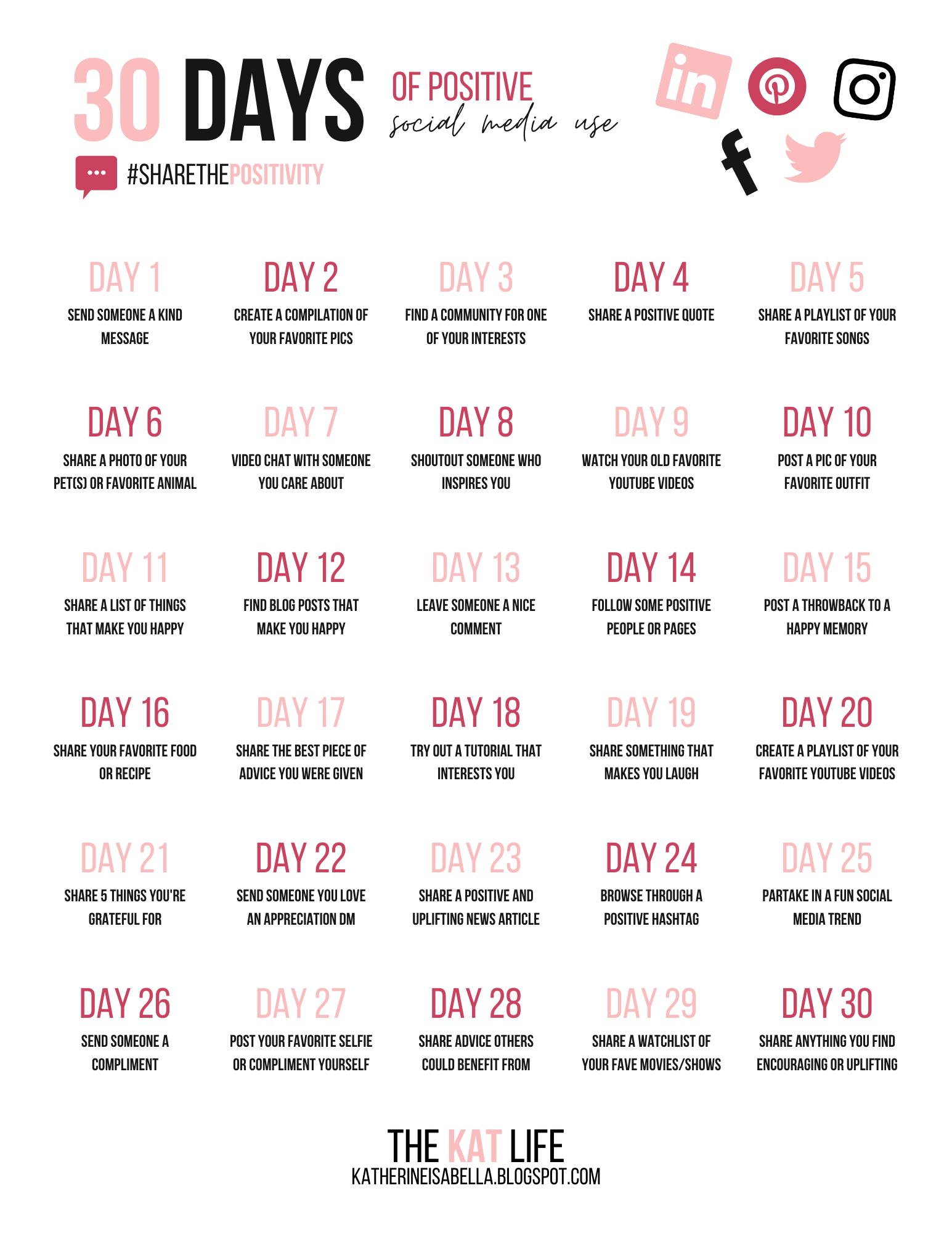 30 Days Of Positive Social Media Use Positivity Challenge Social Media Challenges Social Media Quotes