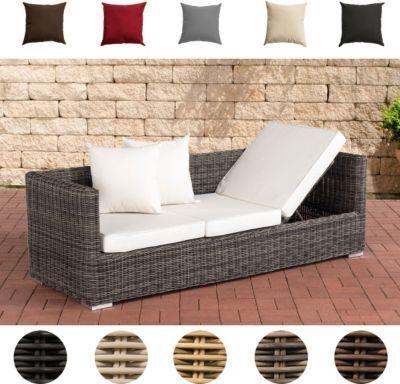 Poly-Rattan Lounge-Sofa SOLANO 5 mm, ALU-Gestell, 3 er Sofa