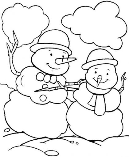 Two Snowmen Dancing In The Snow Coloring Page
